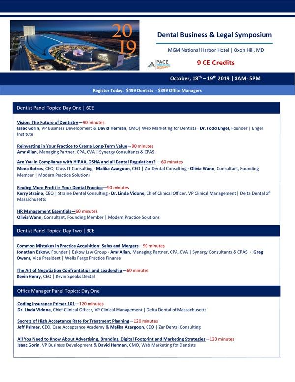4th Annual Dental Business & Legal Symposium   9CE