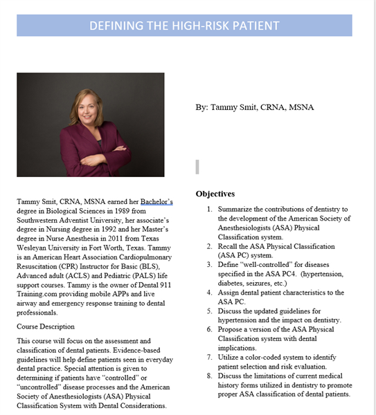 Defining the High Risk Patient- Are you prepared?