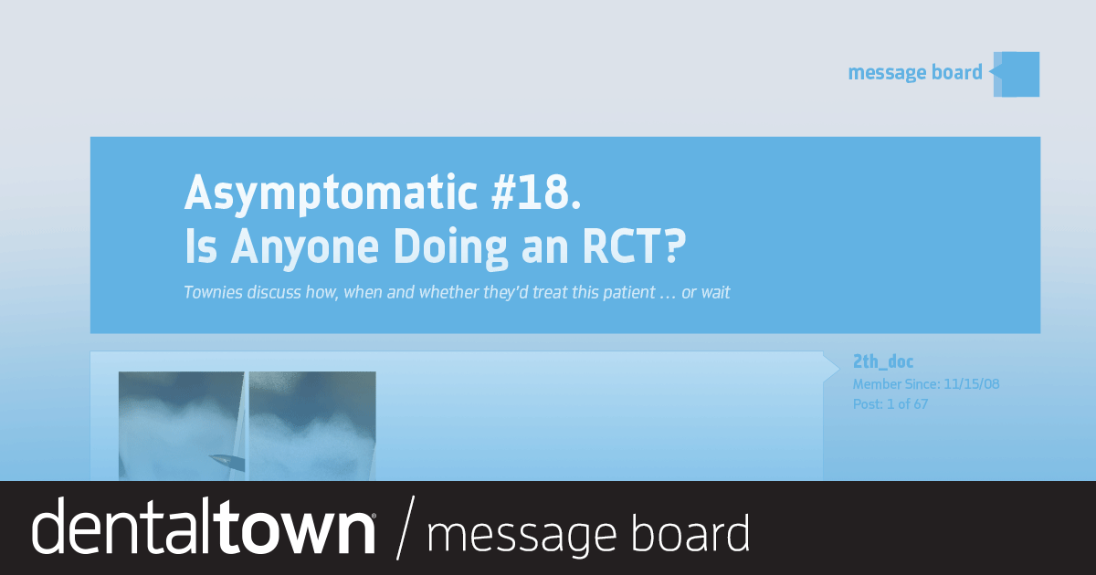 Asymptomatic #18. Is Anyone Doing an RCT?  Townies discuss how, when and whether they'd treat this patient … or wait.