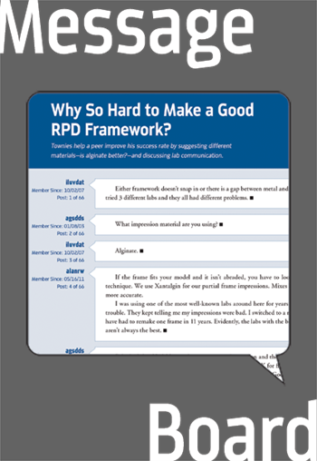 Why So Hard to Make a Good RPD Framework?  Townies help a peer improve his success rate by suggesting different materials—is alginate better?—and discussing lab communication.
