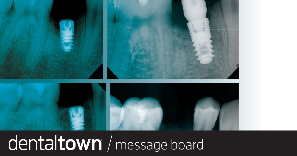 Failure? The periapical hints at a doomed implant, but the bitewing shows another story for this 19-year-old patient. Townies discuss whether this is a defect, a less-than-ideal finish or just a misread