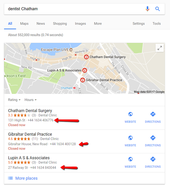 search results dentist Chatham