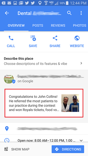 Google My Business posts for dentists by Social Dental Network mobile