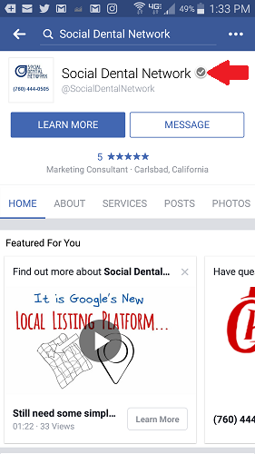 Facebook Page Verification Badge for Dentists